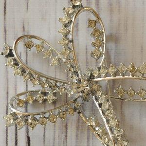 vintage silver rhinestone bow star brooch pin euc